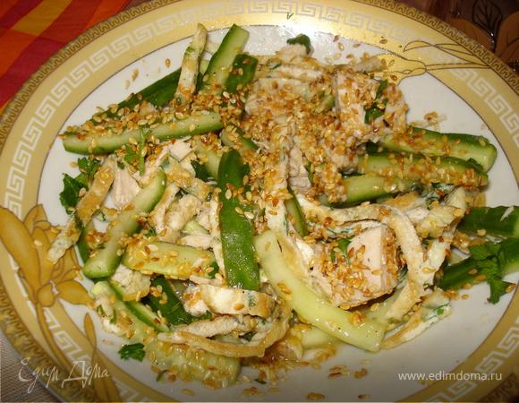 салат-закуска из курицы со свежим огурцом