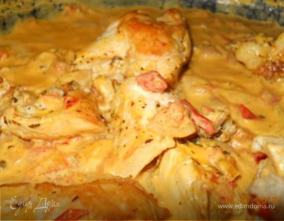 Куриные грудки карри в томатно-сметанном соусе