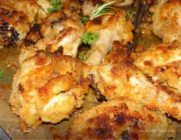 Курица в чесночно-розмариновой шубке