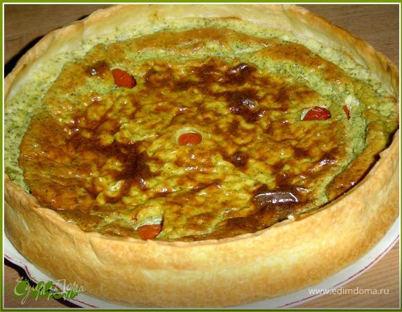 Сырно-творожный тарт с весенней зеленью