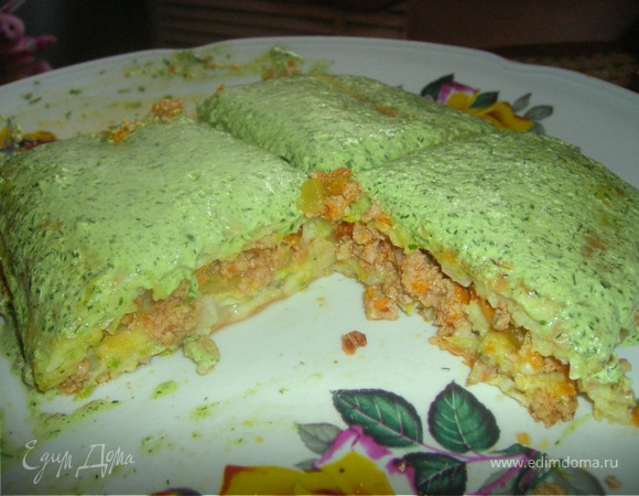 Кабачковая запеканка-пирог с мясом( и без), с посвящением Lyulyashka