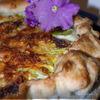 Слоеный пирог с цукини, ветчиной и цветами кабачков