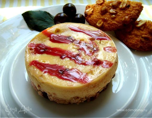 Десерт из запеченной ряженки с вишнями и шоколадом