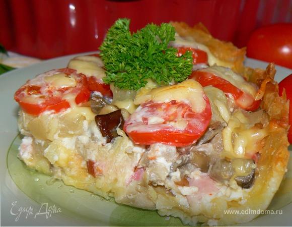 Летний овощной тарт с корейкой
