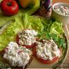 Закуска из баклажана и болгарского перца с сыром фета и мятой