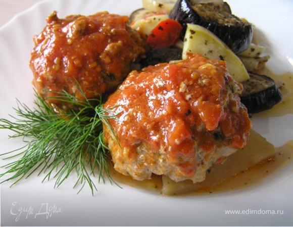 Тефтели по-гречески с запеченными овощами