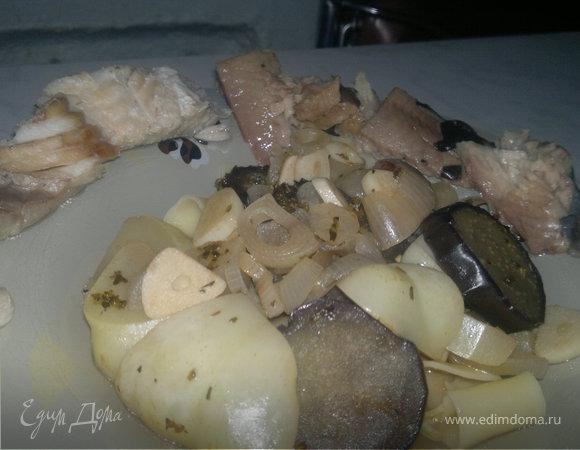 Отварная сайра и сом, овощи прованс и спагетти