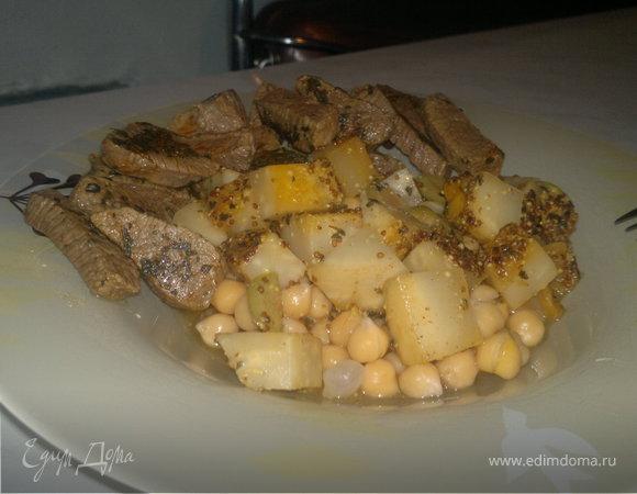 Нут с корнем сельдерея в оливково-горчичном соусе и говядина с эстрагоном и чили.
