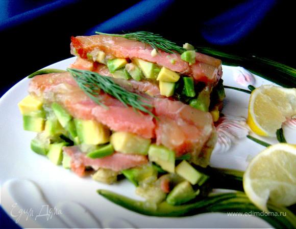 Террин из авокадо и красной рыбы