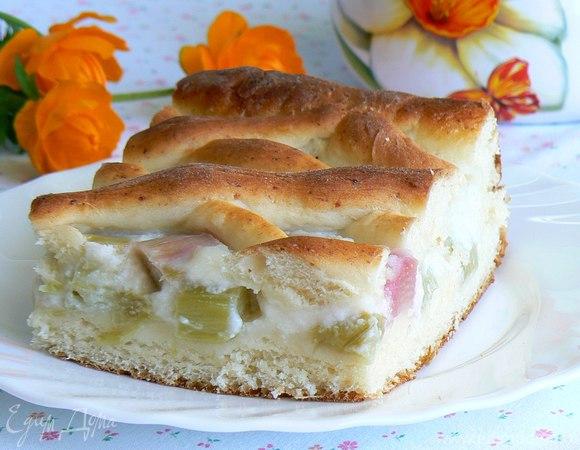 Творожный пирог с ревенем