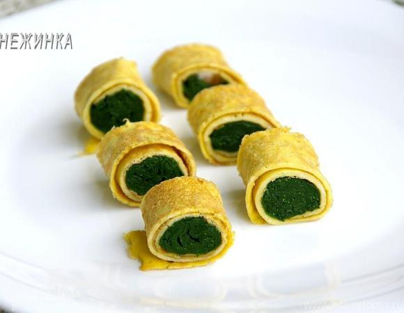 Японский ролл-омлет со шпинатом