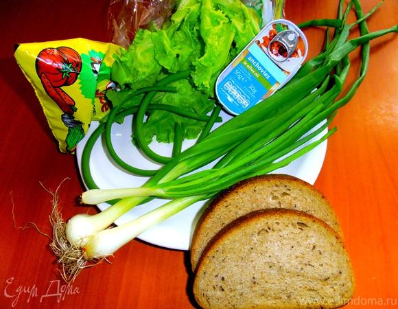 """""""Зеленый"""" бутерброд с анчоусами"""