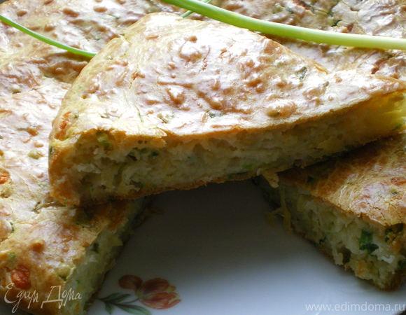 Сырный пирог с зеленым луком