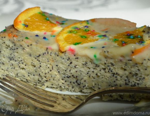 Cметанный кекс с маком и белым цитрусовым ганашем