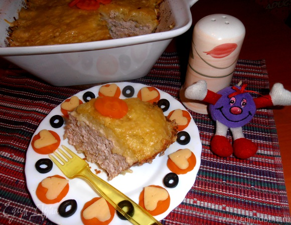 "Картофельная ""шапка"" на курином фарше"