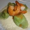Угощаем Водяную Змею. Тортеллини из зеленого теста с начинкой из креветок и кремом из редьки