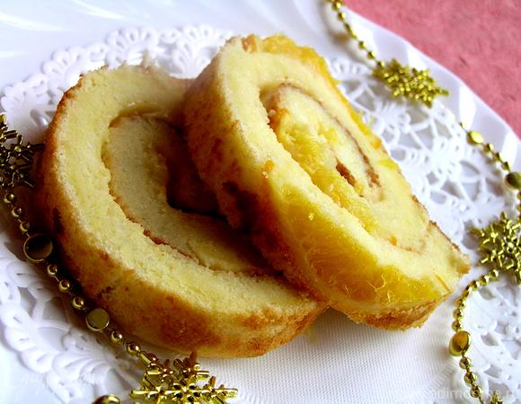 Цитрусовый бисквитный рулет для всех Татьян