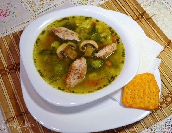 Весенний суп с замороженными овощами и рисом