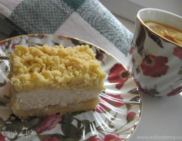 Пирог из песочного теста с творожной начинкой