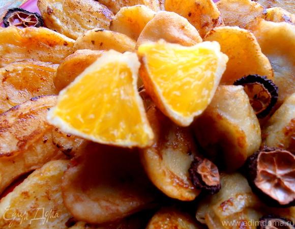 Апельсины и бананы в лимонном фритюре