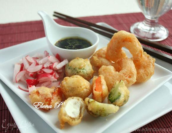 Креветки и овощи в восточном стиле