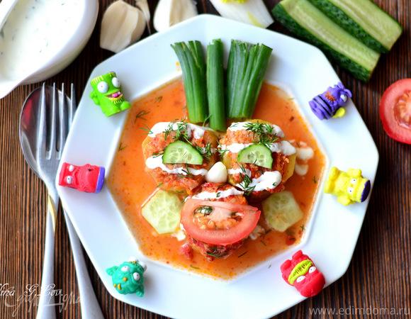 Фаршированные кабачки, тушенные в томатном соке