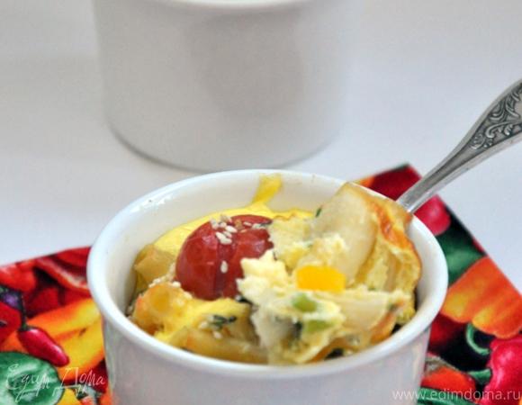 Фриттата с макаронами и болгарским перцем