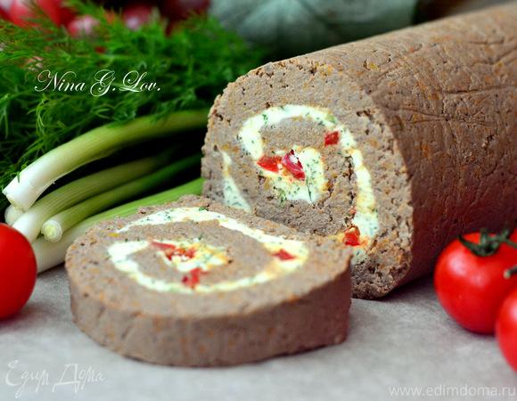 Рулет из отварной печени с пикантной сливочной начинкой