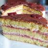 """Бисквитный торт со сметанным кремом и малиновым курдом """"Восторг"""""""