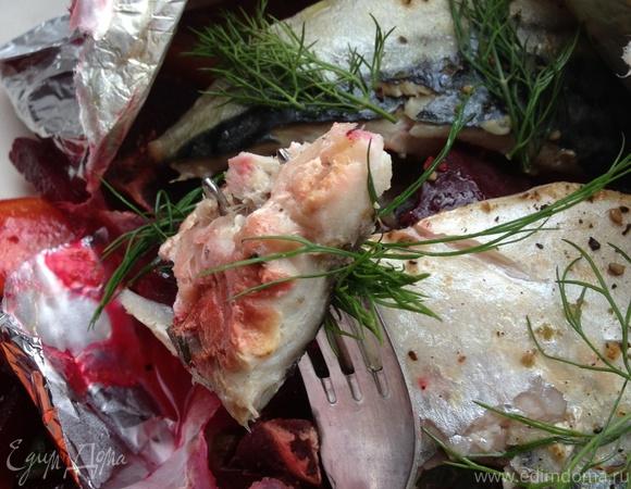 Запеченная рыба на овощной подушке с моцареллой