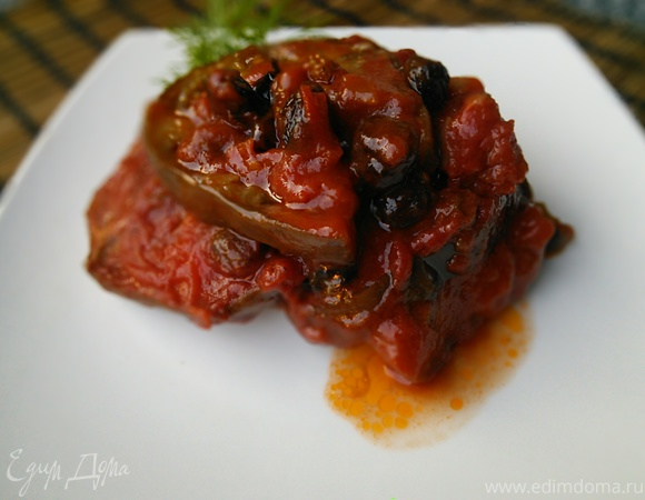 Баклажаны в томатном соусе с изюмом