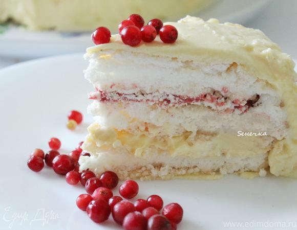 Торт-безе с брусничным курдом