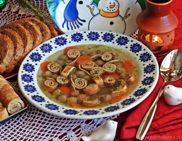 Суп с фрикадельками и блинными роллами