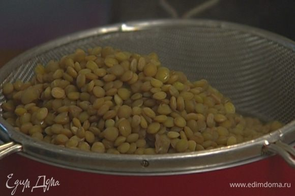 Чечевицу отваривать в овощном бульоне в течение 20 минут, затем слить, бульон сохранить.