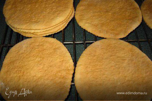 Разделить тесто на 6-8 частей. Раскатать, формой (у меня была тарелка) вырезать коржи и выпекать в духовке. Пекутся они очень быстро, так что никуда не отходите))