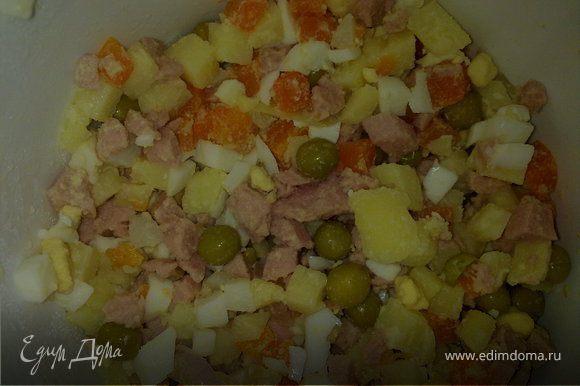 Картофель, морковь, яйца, лук,колбасу нарезать кубиками, добавить горошек.