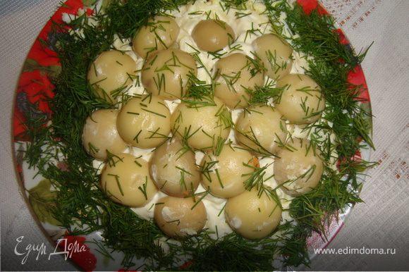 колбасу крабовие яйца нарезать кубиками. розложуемо слоями на сам низ кладем колбасу выше крабовые даликукурудза далее майонезом смазать посолить и поперрчиты посыпать сыром затем яйцо снова майонез посолить поперчить выложить сверху цели шампиньоны по бокам укроп