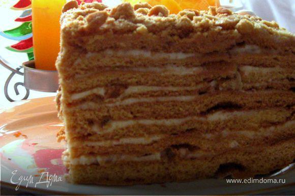 А пока измельчить обрезки в крошку. Это можно сделать в блендере. Обрезать торт по краям, используя для этого тарелку меньшего диаметра.Обсыпать торт крошкой и орехами. Завернуть в фольгу и пакет. Поставить на сутки в холодильник. За это время он полностью пропитается, станет мягким и очень вкусным! Желаю, чтобы и для вас этот рецепт стал любимым!
