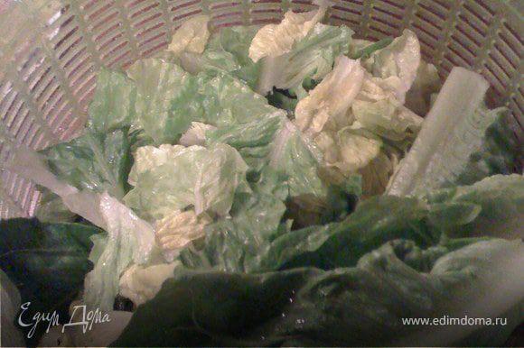Нарвать листья салата. Порезать лук тонкими полукольцами и разделить их на отдельные полосочки.