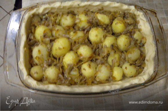 Смешать картофель, грибы и лук. Выложить на тесто.
