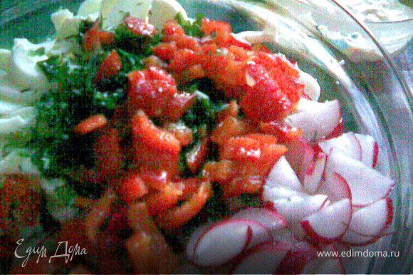 Огурцы очистить от кожицы,нарезать соломкой,редис полукольцами,яйца отделить желтки и в салат порезать белки тоже соломкой.Перец очистить от кожицы и тоже порезать как и предыдущие овощи.