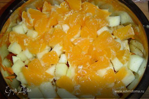 Добавляем нарезанный мандарин.