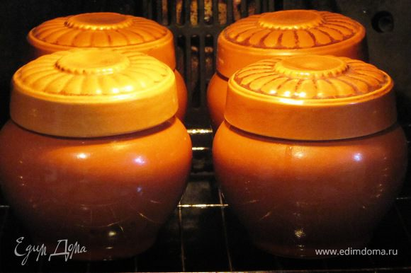 Когда все продукты заложены в горшочки, добавляем соль, перец, специи, заливаем кипятком, накрываем крышечками и ставим в горячую духовку.