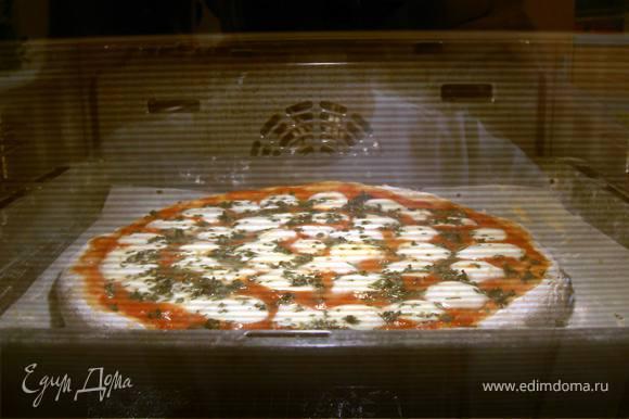 """Разделить тесто на 2 части, раскатать одну часть в тонкий пласт. Выложить на смазанный оливковым маслом противень. Выложить приготовленное из свежих помидоров томатное пюре на тесто, сверху положить нарезанный кружочками свежий сыр """"моцарелла"""" (или натереть """"моцареллу"""" для пицыы на терке)."""