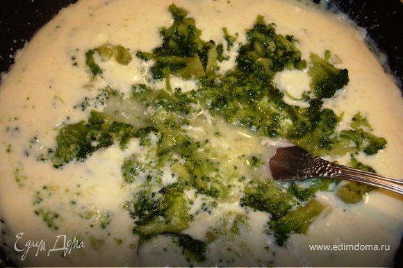 В большом количестве воды отварить брокколи в течении 5 минут. В то время, когда варится капуста, в сковороду наливаем сливки, выкладываем плавленый сыр и при постоянном помешивании нагреваем до полного растворения сыра. Когда сыр растворится, выкладываем туда брокколи и разминаем до нужной вам консистенции. Я люблю, чтобы были кусочки покрупнее…