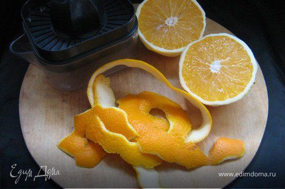 Апельсин обдать кипятком, обсушить, аккуратно и очень тонко срезать цедру