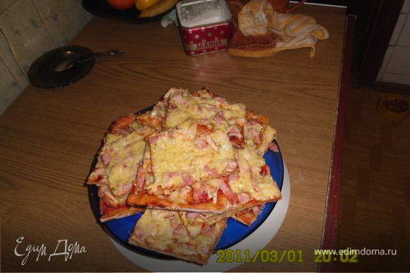 """Есть еще вариант. Пицца """"Четыре колбаски"""" Тесто также.А начинка сосиски, колбаска варенка,бекон, мяско подкопченное свинина( совсем немножко для вкуса)."""