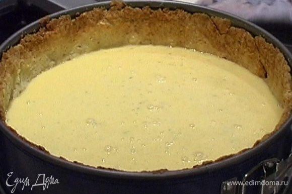 Приготовить начинку: яйца взбить с сахаром, добавить цедру лаймов и цитрусовый сок, перемешать, затем ввести взбитые сливки и еще раз все перемешать.