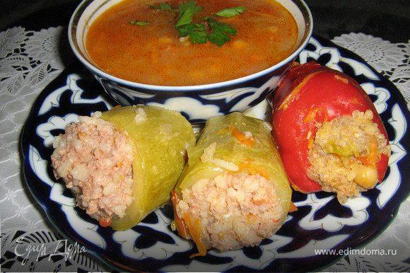 Подавать посыпав зеленью и чесноком.Получается очень сытное блюдо,в немного восточном стиле!Приятного аппетита!