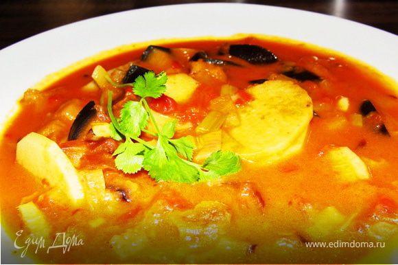 Индийское карри готово! Подавать со свежим белым хлебом, лепешками и свежей киндзой! Приятного аппетита!